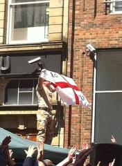 Soldier at EDL demonstration, Newcastle