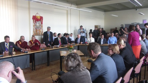 The Dalai Lama attended a closed meeting at the Latvian Parliament